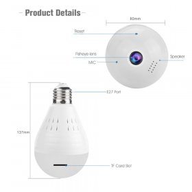 APLEYE 1080P Wireless IP Camera E27 LED Bulb Light Panoramic Wi-Fi Lamp FishEye
