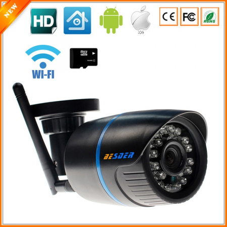 ABS Plastic Material Wireless IP Camera 720P With SD Slot Max 32G One Key WPS Wifi