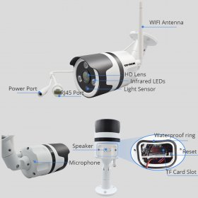 2MP WIFI IP Camera Outdoor Wireless Wi-Fi Security CCTV Surveillance Waterproof