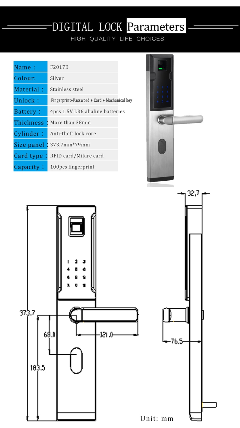 304 Stainless Steel Cheap Keyless Smart Biometric Wireless Fingerprint Door Lock Electronic Keypad Code Password Lock For Home
