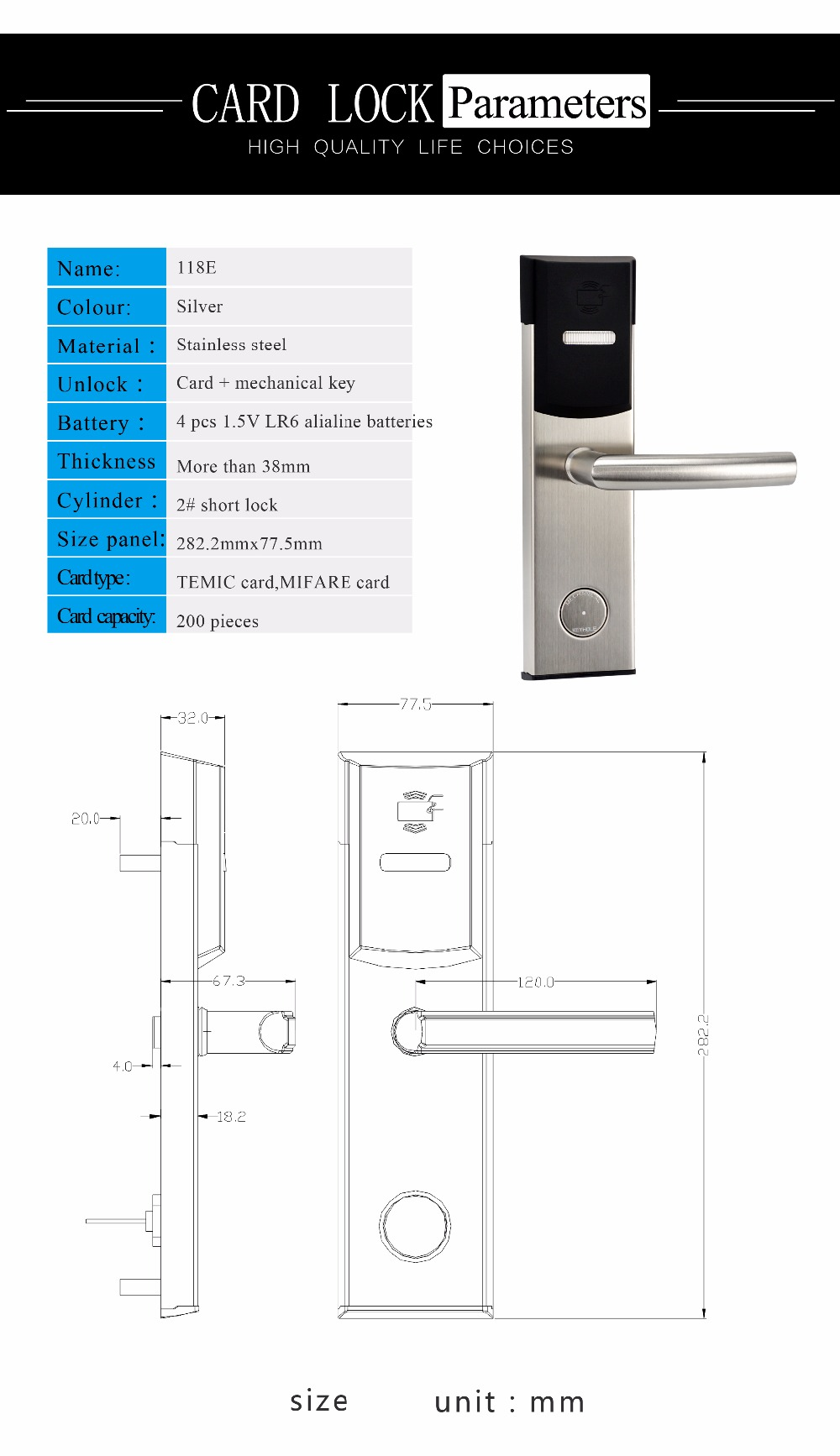 Stainless Steel Free Software Electronic Door Lock Keyless Digital Smart Door Lock Smart Entry For Home or Hotel System